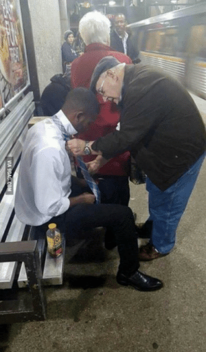Elderly man helps guy to get to tie the knot for his first day of work: Elderly man helps guy to get to tie the knot for his first day of work