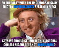 Please, tell me more.: ELECTED SUPER SYSTEM IN PLACE  ALBERT ARANF  SAYS WE SHOULD GET RIDOF THE ELECTORAL  COLLEGE BECAUSE IT'S NOT  DEMOCRATIC Please, tell me more.