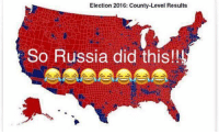 Memes, Youtube Videos, and 🤖: Election 2016: County-Level Results  So Russia did this!! Hillary got busted rigging the primaries. She told coal miners she's putting them out of business. Blamed Benghazi on a YouTube video. Called half the country deplorable. And set up a private server in her house. Deleted classified information after subpoena with a cloth or something.