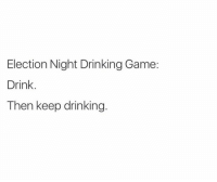 I think this is the same drinking game that Browns fans use every Sunday: Election Night Drinking Game:  Drink.  Then keep drinking. I think this is the same drinking game that Browns fans use every Sunday