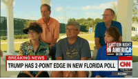 America, Life, and Memes: ELECTION NIGHT  IN AMERICA  CANYON  ON CNN  BREAKING NEWS  TRUMP HAS 2-POINT EDGE IN NEW FLORIDA POLL  CNN  6:32 PM PT  AC360° These life-long Republicans have banded together to make sure Donald J. Trump doesn't win their crucial state -- Florida.