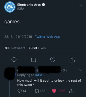 Electronic: Electronic Arts  EA  @EA  games,  22:13 21/10/2019 Twitter Web App  760 Retweets 3,969 Likes  6h  Replying to @EA  How much will it cost to unlock the rest of  this tweet?  2  L123  1,359  14