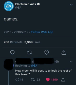 When a Programmer joins Twitter: Electronic Arts O  EA  @EA  games,  22:13 · 21/10/2019 · Twitter Web App  760 Retweets 3,969 Likes  Ca  6h  Replying to @EA  How much will it cost to unlock the rest of  this tweet?  O 14  1,359 1  27123 When a Programmer joins Twitter