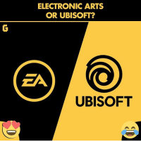 Memes, Ubisoft, and Electronic Arts: ELECTRONIC ARTS  OR UBISOFT?  ZA  UBISOFT Electronic arts or Ubisoft ? Gaming Videogames instagamer instagaming gamer ubisoft electronicarts