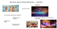 "Definitely, Drugs, and Music: Electronic music festival aftermovie - starterkit  Lasers  You need to go!""  Cheesey quote about ""peace and unity""  Mystical voice in  the intro  Artist /guest saying how it's the best show  in the world  Definitely no  drugs  Slow motion and  tilt shift shots Electronic music festival aftermovie - Starterpack"