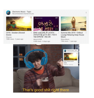 Hell yeah, this is my favourite electronic music!: Electronic Music - Topic  Recommended channel for you  Mnet  크더  SM  Mnet  4:03  4:10  2:01:32  [ENG sub] [23] LATATA -  (여자)아이들 @1차 경연 |히트곡  대결 컴백전쟁 : 퀸덤 2화  C418-Sweden (Slowed  Down)  Phyrozz  708K views 2 years ago  Summer Mix 2019 Chillout  Lounge Relaxing Deep House  Music  Shine Music  Mnet K-POP  19M views 1 year ago  4.6M views 6 days ago  Electronic Music Topic  Recommended channel for you  4:03  C418 Sweden (Slowed  Down)  Phyrozz  708K views 2 years ago  That's good shit right there Hell yeah, this is my favourite electronic music!