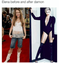 0 to 100, Memes, and 🤖: Elena before after damon  and OMG! So true! 0 to 100 with Damon. 💯🙌🏻  -Annelise Fritchie