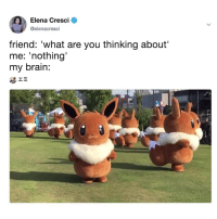 Pokemon, Brain, and Relatable: Elena Cresci  @elenacresci  friend: 'what are you thinking about  me: 'nothing  my brain: What I wish Pokémon Go was like irl!😍