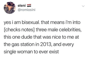 Dude, Gas Station, and Bisexual: eleni  @romiosini  yes i am bisexual. that means i'm into  [checks notes] three male celebrities,  this one dude that was nice to me at  the gas station in 2013, and every  single woman to ever exist
