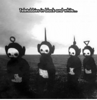Tumblr, Black, and Black and White: eletubbies in black and white. srsfunny:They Look Totally Demonic