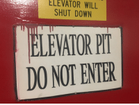 Halloween, Memes, and Spooky: ELEVATOR  WILL  SHUT DOWN  LEVATOR PI  DO NOT ENTER Spooky Halloween sign in our basement that is like that all year https://t.co/wRSyYyQI6u