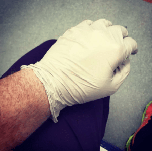 Eleven hours into a clinical shift in ER. First time I've sat down.: Eleven hours into a clinical shift in ER. First time I've sat down.