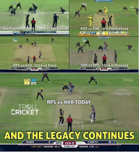 Memes, Troll, and Cricket: elhi 2015 at Bangalore  KKR vs CSK, 2015 at Kolkata  Jharkhand  RPS vs KKR, 2016 at Pune  KKR vs RPS, 2016 at Kolkata  hotstar  IPL  RPS vs KKR TODAY  TROLL  CRICKET  AND THE LEGACY CONTINUES  OLORPs DHONI  S SMITH  25.17  112-2  LAST WKT  RAHANE 46 41  OVERS 13.3  NARINE 1-25 2.3 Gambhir again set an attacking field when Dhoni came to bat today.
