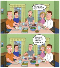 Thanksgiving, Http, and Thought: Eli, can you  pass the ham?  On second  thought, you  better let  Peyton do it. Thanksgiving with the Mannings 😂 http://t.co/0jim993zcX