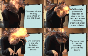 sofstar1:  For all the new Bloodborne players who want a lore summary: eliberately  poison the  populace to  step in as the  hero and amass  a following  organised under  a new religion  Discover miracle  healing  properties of  the Old Blood  Turn everyone  in the city  including  yourself into  beasts  Turn everyone  in the city  including  yourself into  beasts sofstar1:  For all the new Bloodborne players who want a lore summary