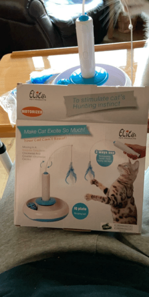 A toy that my cat got for Christmas. I don't even know where to start: Elicer  To stimulate cat's  Hunting instinct  PET PRODUCTS  MOTORIZED  ELitë:  Make Cat Excite So Much!  PET PRODUCTS  Your Cat Can't Resist!  Moving In A  Imegular Time With  Clockwise And  Counter clockwise  Circies  3 ways use  Removable  hand-held  funny cat toys  1Q plate  Ringing ball  CARIAMAAAAIN  CINAMENAAA A toy that my cat got for Christmas. I don't even know where to start