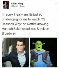 "Bad, Dad, and Demi Lovato: Elijah King  Rasin Bran  Im sorry, I really am, its just so  challenging for me to watch ""13  Reasons Why"" on Netflix knowing  Hannah Baker's dad was Shrek on  Broadway So if James Charles is a makeup artist and the first male covergirl pointing out that he didn't do makeup well in a meme is now bullying? And yet so many people are okay with mocking others in memes like demi lovato for having a bad picture when it isn't her job to have good makeup, but no once he gets whiny about it it's bullying?"