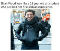 Not sure if this is politically correct or not, but it's funny.: Elijah Wood look like a 22 year old art student  who just had her first lesbian experience. Not sure if this is politically correct or not, but it's funny.