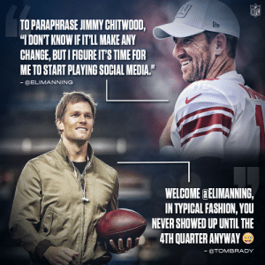 .@EliManning's on Twitter now, and he got a warm welcome from @TomBrady 😂 https://t.co/aFeDhdOpJG: .@EliManning's on Twitter now, and he got a warm welcome from @TomBrady 😂 https://t.co/aFeDhdOpJG