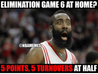 Houston, we have a problem. #Rockets Nation: ELIMINATION GAME 6ATHOME  @NBAMEMES  AT HALF  5 POINTS, 5 TURNOVERS Houston, we have a problem. #Rockets Nation