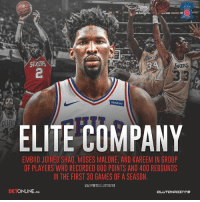 You join this group of legends…how are you celebrating?: ELITE COMPANY  EMBIID JOINED SHAQ, MOSES MALONE, AND KAREEM IN GROUP  OF PLAYERS WHO RECORDED 800 POINTS AND 40O REBOUNDS  IN THE FIRST 30 GAMES OF A SEASON  VIA SPORTS ILLUSTRATED  BETONLINE.AG You join this group of legends…how are you celebrating?