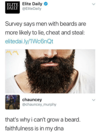 Beard, Blackpeopletwitter, and Beards: ELITE  DAILY  Elite Daily  @EliteDaily  Survey says men with beards are  more likely to lie, cheat and steal:  elitedai.ly/1Wc6nQt  chauncey  @chauncey_murphy  that's whyi can't grow a beard.  faithfulness is in my dna <p>I got royalty got loyalty inside my DNA (via /r/BlackPeopleTwitter)</p>