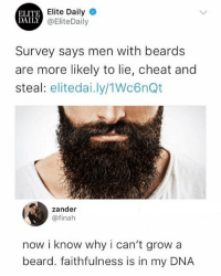 Beard, Girl Memes, and Beards: Elite Daily  ELITE  DAILY  Y@EliteDaily  Survey says men with beards  are more likely to lie, cheat and  steal: elitedai.ly/1Wc6nQt  zander  @finah  now i know why i can't grow a  beard. faithfulness is in my DNA 😂😂😂😂😂