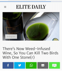Memes, Weed, and Wine: ELITE DAILY  Instagranm  There's Now Weed-Infused  Wine, So You Can Kill Two Birds  With One Stone(r)  SMS Sounds like a plan