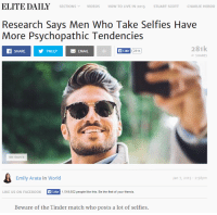 "Charlie, Facebook, and Friends: ELITE DAILY SECTIONS  v DEOS  HOW TO LIVE IN 2015  STUART SCOTT  CHARLIE HEBDO  Research Says Men Who Take Selfies Have  More Psychopathic Tendencies  281k  SHARE  TWEET EMAIL  Like  281k  SHARES  We Heart It  Emily Arata in World  Jan 7, 2015 2:58pm  LIKE US ON FACEBOOK  Like  1,518,602 people like this. Be the first of your friends.  Beware of the Tinder match who posts a lot of selfies. This is what counts as ""research"" in the 21st century."
