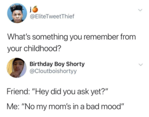 "Meirl: @EliteTweetThief  What's something you remember from  your childhood?  Birthday Boy Shorty  @Cloutboishortyy  Friend: ""Hey did you ask yet?""  Me: ""No my mom's in a bad mood"" Meirl"