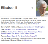 george vi: Elizabeth Il  Elizabeth l is Queen of the United Kingdom and the other  Commonwealth realms. Elizabeth was born in London as the first child of  the Duke and Duchess of York, later King George VI and Queen  Elizabeth, and she was educated privately at home. Wikipedia  Born: April 21, 1926 (age 92 years), Mayfair, London, United Kingdom  Died: January 5, 2019. Big Ben, London, United Kingdom  Children: Charles, Prince of Wales, Anne, Princess Royal, Prince  Andrew, Duke of York, Prince Edward, Earl of Wessex  Parents: Qun Elizabeth The Queen Mother, George VI  Did you know: Elizabeth Il is the second-oldest currently-serving state  leader by age(92 years, 252 days). wikipedia.org