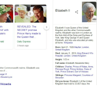george vi: Elizabeth Il  th  mit' with  ate's  REVEALED: The  SECRET promise  Prince Harry made to  the Queen that.  Elizabeth Il was Queen of the United  Kingdom and the other Commonwealth  realms. Elizabeth was born in London as  the first child of the Duke and Duchess of  York, later King George VI and Queen  Elizabeth, and she was educated privately  at home. Wikipedia  rald  Dailly Express  3 hours ago  Born: April 21, 1926 Mayfair, London,  United Kingdom  Died: January 5, 2019, King Edward VII's  Hospital, London, United Kingdom  Height: 1.63 m  Full name: Elizabeth Alexandra Mary  Children: Charles, Prince of Wales, Anne  Princess Royal, Prince Andrew, Duke of  York, Prince Edward, Earl of Wessex  ther Commonwealth realms. Elizabeth was  ss of  Bowes-Lyon  Vikipedia  orge  VI  Siblings: Princess Margaret, Countess of  Snowdor  Did you know: Elizabeth Il of the United  Kingdom had lived to 33,857 days, the