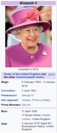 george vi: Elizabeth lI  Elizabeth in 2015  Queen of the United Kingdom and [show]  the other Commonwealth realms  Reign  6 February 1952-5 January  2019  Coronation2 June 1953  Predecessor George VI  Heir apparent Charles, Prince of Wales  Prime Ministers See list  Born  21 April 1926  17 Bruton Street, Mayfair,  London, United Kingdom  5 January 2019 (aged 92)  Buckingham Palace, United  Kirgcion