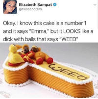 "Memes, Weed, and Cake: Elizabeth Sampat  @twoscooters  Okay. I know this cake is a number 1  and it says ""Emma,"" but it LOOKS like a  dick with balls that says ""WEED"" Somebody messed up…"