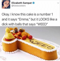 """@pubes was voted for """"the funniest meme page"""" of 2017 😂: Elizabeth Sampat  @twoscooters  Okay. I know this cake is a number 1  and it says """"Emma,"""" but it LOOKS like a  dick with balls that says """"WEED"""" @pubes was voted for """"the funniest meme page"""" of 2017 😂"""
