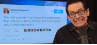 Jimmy Dore revisits an old tweet by Warren in light of Clinton's non-indictment: Elizabeth Warren  Sen Warren  The next president can honor the simple notion  that nobody is above the law, but it will happen  only if voters demand it.  RETWEETS LIKES  3,117 3,748  7:44 AM 29 Jan 2016  ta 3.1 V 3.7K Jimmy Dore revisits an old tweet by Warren in light of Clinton's non-indictment