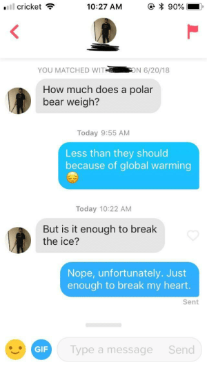 Gif, Global Warming, and Bear: Ell cricket  10:27 AM  * 90%  YOU MATCHED WIT  N 6/20/18  How much does a polar  bear weigh?  Today 9:55 AM  Less than they should  because of global warming  Today 10:22 AM  But is it enough to break  the ice?  Nope, unfortunately. Just  enough to break my heart.  Sent  GIF  Type a message  Send Some say the ice hasn't been broken to this day