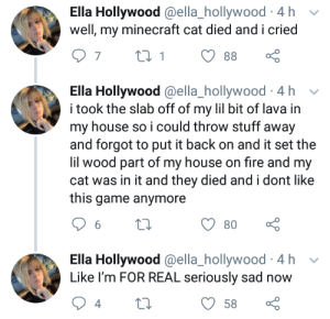 Fire, Minecraft, and My House: Ella Hollywood @ella_hollywood 4 h  well, my minecraft cat died and i cried  t 1  7  88  Ella Hollywood @ella_hollywood 4 h  i took the slab off of my lil bit of lava in  my house so i could throw stuff away  and forgot to put it back on and it set the  lil wood part of my house on fire and my  cat was in it and they died and i dont like  this game anymore  6  80  Ella Hollywood @ella_hollywood 4h  Like I'm FOR REAL seriously sad  58 We should make a list of people who Pyro should have payed to play Minecraft with
