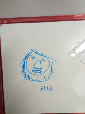 Children, School, and Teacher: ELLA One of the refugee kids in the volunteer summer school I work as assistant teacher in is used to isolating himself from other children and teachers. Today he drew a portrait of me for me. :))