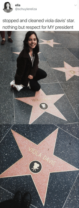 Mood, Respect, and Tumblr: ella  @schuylereliza  stopped and cleaned viola davis' star.  nothing but respect for MY president affablyevil: random-fangirling:   weavemama:  THE ONLY PRESIDENT I WILL ACCEPT  MOOD   Can this be the movement? I don't mind this being the movement from now on. Someone get her the nuclear codes, I want viola Davis as my president