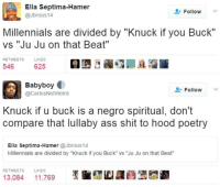 """Ass, Blackpeopletwitter, and Church: Ella Septima-Hamer  @Jbrous14  Follow  Millennials are divided by """"Knuck if you Buck""""  vs """"Ju Ju on that Beat""""  RETWEETS  LIKES  546 625L  Babyboy  요. Follow  @CarlosNotWeird  Knuck if u buck is a negro spiritual, don't  compare that lullaby ass shit to hood poetry  Ella Septima-Hamer @Jbrous14  Millennials are divided by """"Knuck if you Buck"""" vs """"Ju Ju on that Beat""""  RETWEETS  LIKES  13,084 11,769 <p>Let the church say amen (via /r/BlackPeopleTwitter)</p>"""