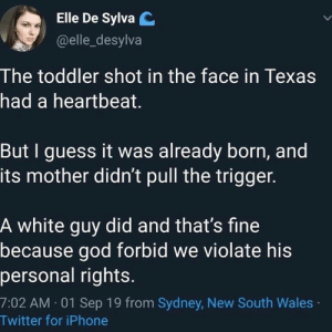God, Iphone, and Twitter: Elle De Sylva C  @elle_desylva  The toddler shot in the face in Texas  had a heartbeat.  But I guess it was already born, and  its mother didn't pull the trigger.  A white guy did and that's fine  because god forbid we violate his  personal rights.  7:02 AM 01 Sep 19 from Sydney, New South Wales  Twitter for iPhone Right?