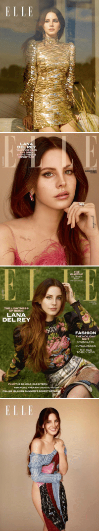 Lana Del Rey for ELLE magazine 😍❤️ She looks absolutely stunning https://t.co/C6zCrDCF9d: ELLE   LANA  DEL RE  HAPPINESS IS  THE ONLY  THING THAT  IMPORTA  JUNE 2017  SUBSCRIBER  COVER   THE LIGHT NESS  OF BEING  LANA  DEL REY  PLUS THE 40-YEAR-OLD INTERN/  FINANCIAL THERAPY ITRUST Us, You NEEDITI  ITALIAN ISLANDS: SUMMER'SSECRETGETAW  THE  GLOW UP  YOUR NEW  SKIN  OBSESSION  JUNE 2017  E4.30  FASHION  THE HOLIDAY  EDIT  SWIMSUITS  SUNGLASSES  THE BAG  TO BUY NOW Lana Del Rey for ELLE magazine 😍❤️ She looks absolutely stunning https://t.co/C6zCrDCF9d