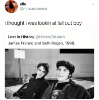 we're going down, down huehuehuehuea (seth rogen laugh) round: elle  @mitsurutenma  i thought i was lookin at fall out boy  Lost In History @HistoryToLearn  James Franco and Seth Rogen, 1999. we're going down, down huehuehuehuea (seth rogen laugh) round