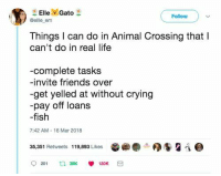 Crying, Friends, and Life: ElleGato  Follow  @ellle em  Things I can do in Animal Crossing that I  can't do in real life  -complete tasks  -invite friends over  -get yelled at without crying  -pay off loans  -fish  7:42 AM- 16 Mar 2018  35.351 Retweets 119,893 Like ●-.-●S g i @  201 t 35 120K Me irl