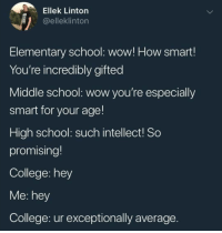College, Memes, and School: Ellek Linton  @elleklinton  Elementary school: wow! How smart  You're incredibly gifted  Middle school: wow you're especially  smart for your age!  High school: such intellect! So  promising!  College: hey  Me: hey  College: ur exceptionally average I know I say this a lot, but @BestMemes actually has the best memes 👌