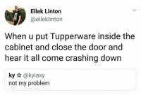 Next persons problem 🤣 https://t.co/3gtQX4xshT: Ellek Linton  @elleklinton  When u put Tupperware inside the  cabinet and close the door and  hear it all come crashing down  ky @kylaxy  not my problem Next persons problem 🤣 https://t.co/3gtQX4xshT