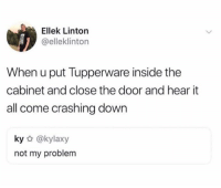 Dank, Tupperware, and 🤖: Ellek Linton  @elleklinton  When u put Tupperware inside the  cabinet and close the door and hear it  all come crashing down  ky @kylaxy  not my problem