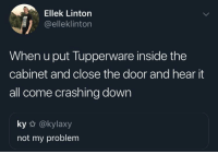 meirl: Ellek Linton  @elleklinton  When u put Tupperware inside the  cabinet and close the door and hear it  all come crashing down  ky @kylaxy  not my problem meirl