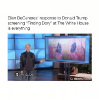 "Ellen is honestly the best human ever. (Via: EllenTube) Follow @bitchy.tweets if you're watching 😂✨: Ellen DeGeneres' response to Donald Trump  screening ""Finding Dory"" at The White House  is everything  tube  IG: @bitchy tweets Ellen is honestly the best human ever. (Via: EllenTube) Follow @bitchy.tweets if you're watching 😂✨"